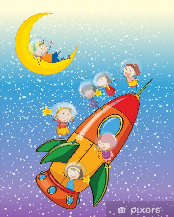 Kids On Moon And Spaceship Wall Mural Pixers We Live To Change