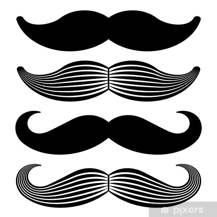 Pixerstick Sticker Vector snor uitstekende zwarte pictogrammen - Snor