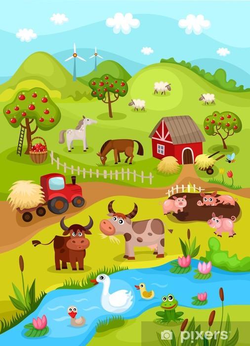 farm card Pixerstick Sticker - Preschooler