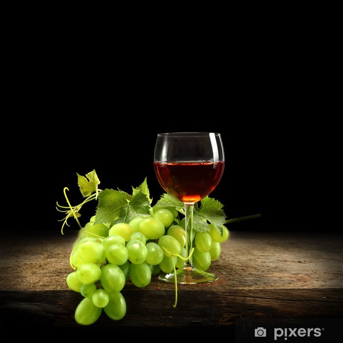 Sticker Pixerstick Verre de vin rouge sur le bureau - Repas