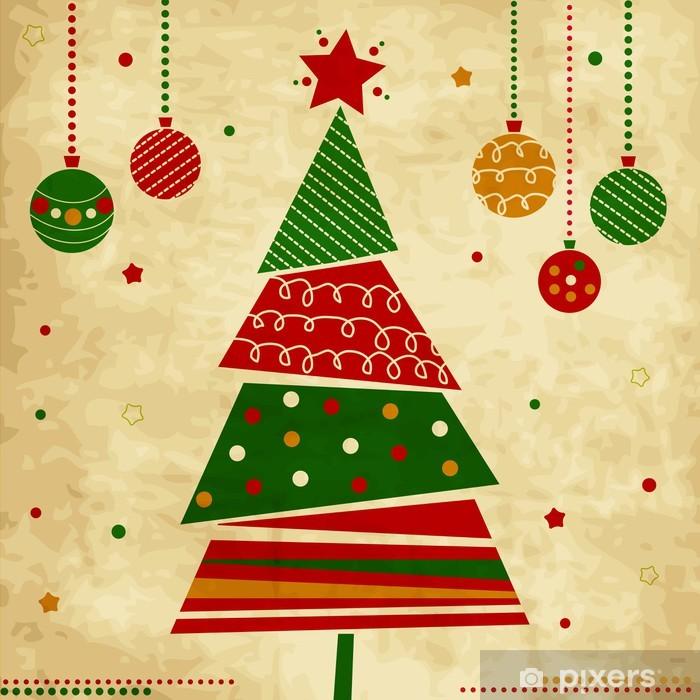 Ingelijste Poster Vintage Kerstkaart met boom en ornamenten, Kerst kaart - Vakantie