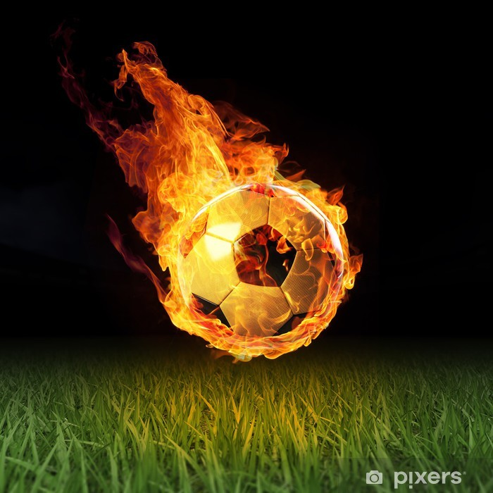 Vinylová fototapeta Fotbal v plamenech na poli 3D - Vinylová fototapeta