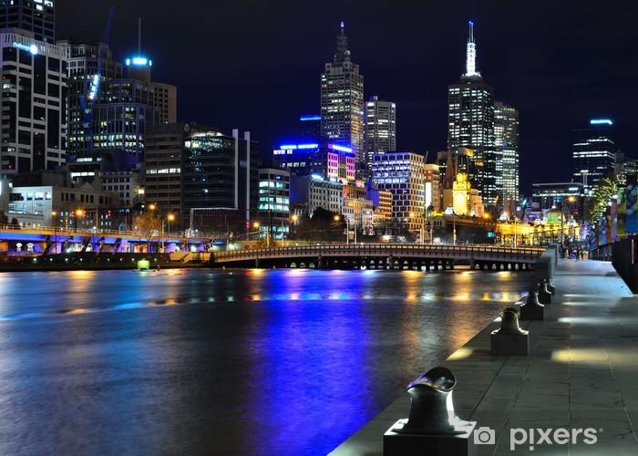Pixerstick Sticker Melbourne Skyline mit und Yarra River - Thema's