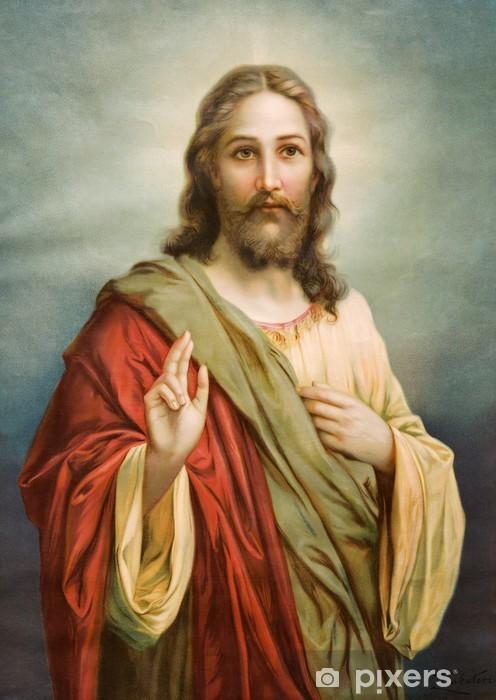 Naklejka Pixerstick Kopia obrazu typowej katolickiej Jezusa Chrystusa - Tematy