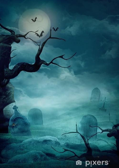 Sticker Pixerstick Halloween fond - Spooky cimetière - Culture et religion