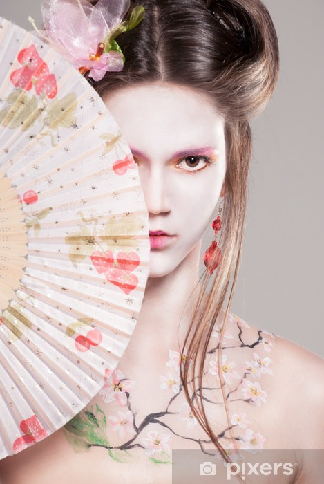 Portrait of attractive young women in asian style Pixerstick Sticker - Tattoos