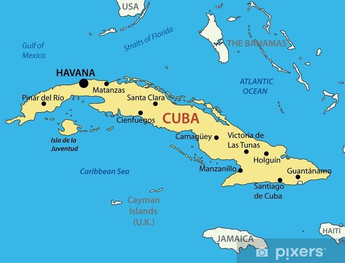 Fototapete Republik Kuba Vektor Karte Pixers Wir Leben Um