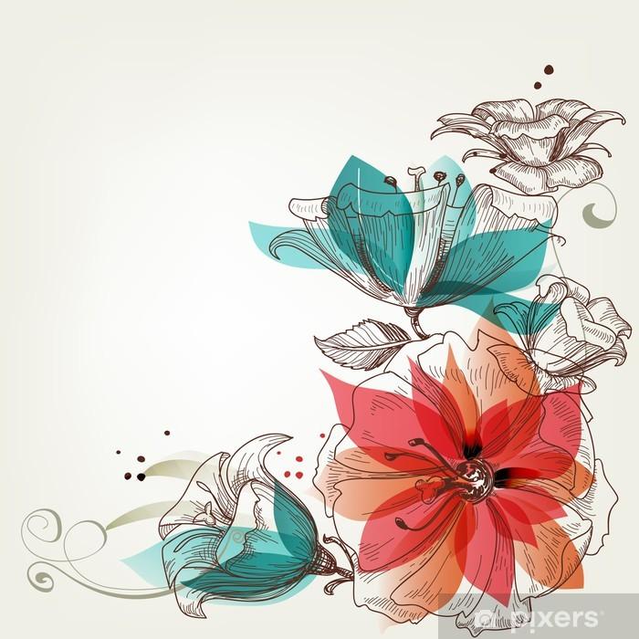Vintage flowers background Pixerstick Sticker - Themes