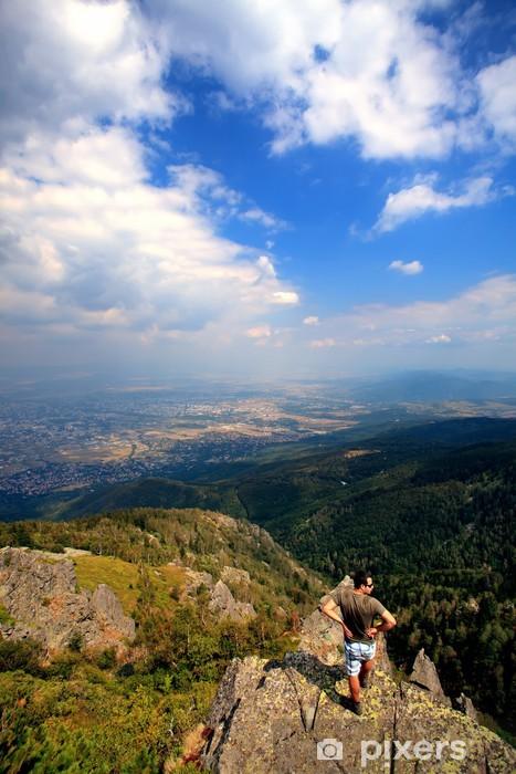 man in high mountain vertical Pixerstick Sticker - Europe