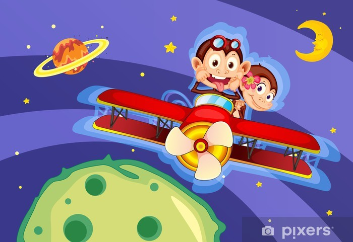 Vinil Duvar Resmi Uçakta maymunlar -