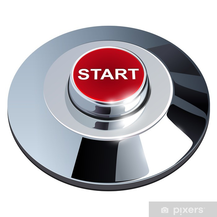 Poster Start button, 3d red metallischen chrom, isoliert. - Internet und Netzwerke
