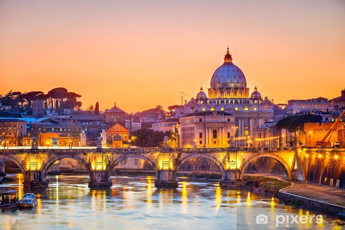 St. Peter's cathedral at night, Rome Pixerstick Sticker -