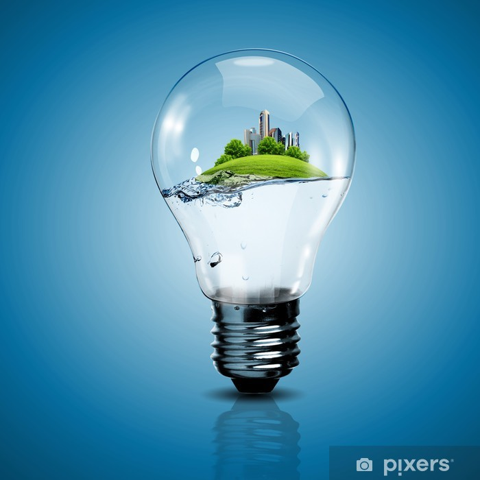 Poster Ampoule électrique et une usine à l'intérieur - Ecologie