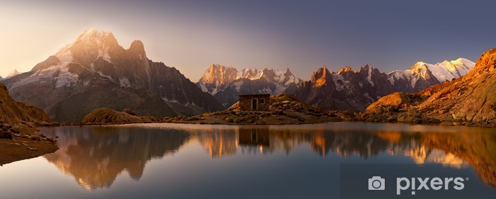 Monte Bianco e Alpi riflesse nel Lago Bianco Pixerstick Sticker - Destinations