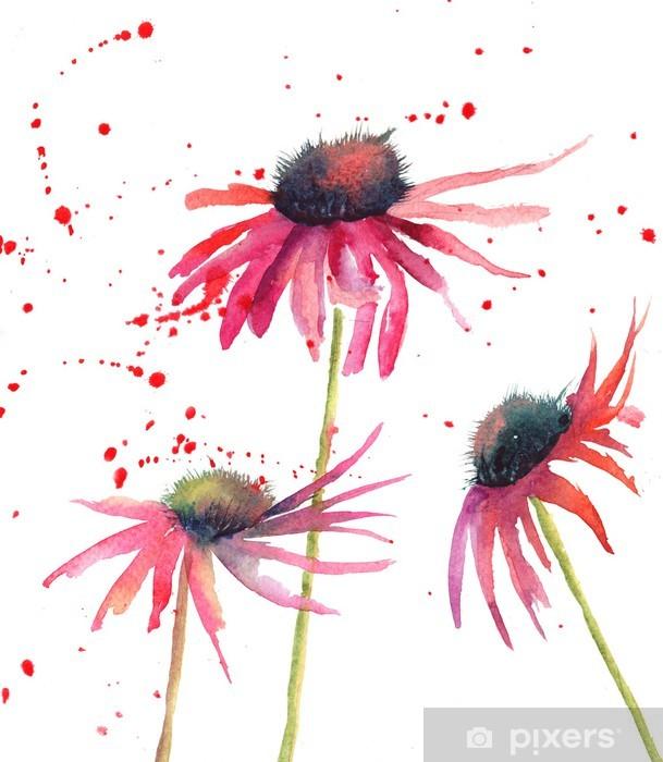 Naklejka Pixerstick Kwiaty letnie kwiaty, akwarela - Kwiaty