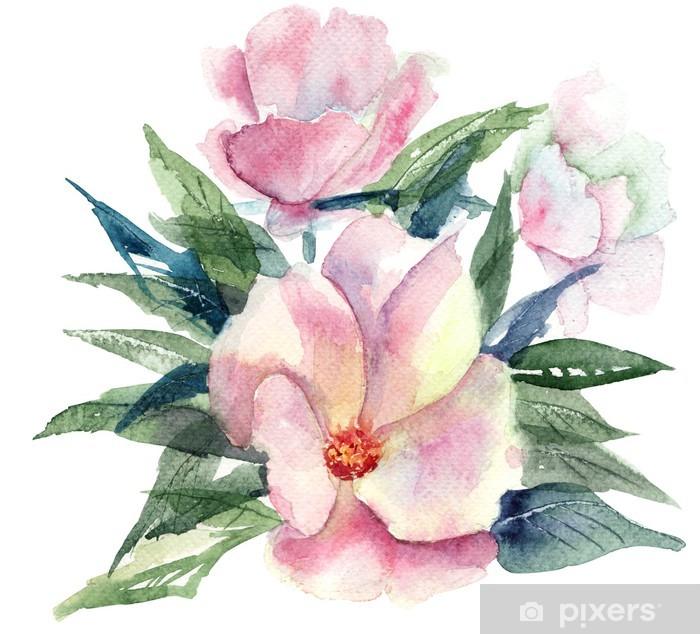Papier Peint Fleur Stylisee Rose Illustration D Aquarelle Pixers