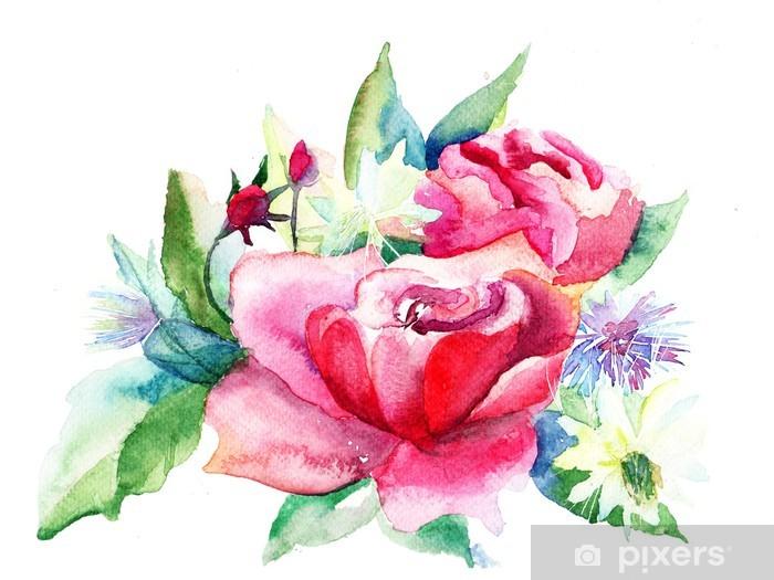 Vinilo Pixerstick Flores Rosas Hermosas Pintura Acuarela Pixers
