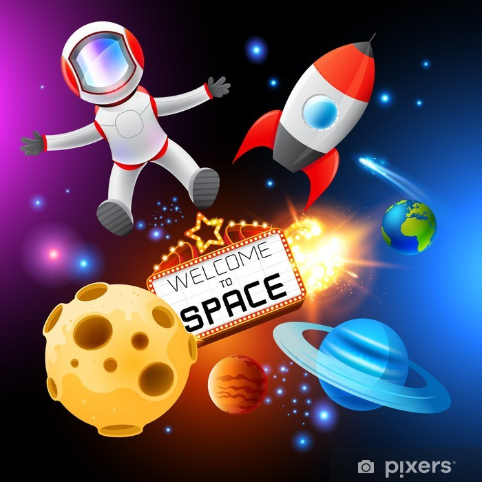 Vector Space Elements Pixerstick Sticker - Outer Space