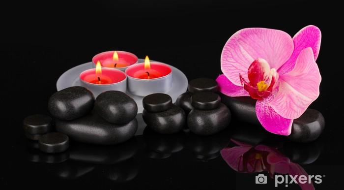 Naklejka Pixerstick Kamienie Spa z orchidea kwiat i świece samodzielnie na czarny - Kwiaty