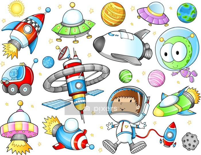 Outer Space Spaceships and Astronaut Vector Set Wall Decal - Wall decals