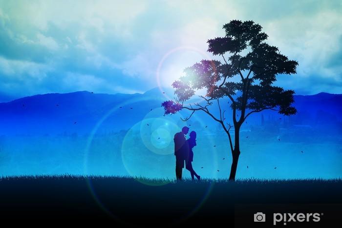 Naklejka Pixerstick Ilustracja sylwetka pary pod drzewem - Rolnictwo