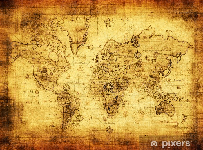 ancient map of the world Pixerstick Sticker -