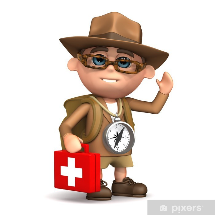 69d21edd148c 3d Adventurer has a first aid kit for emergencies Pixerstick Sticker -  Health and Medicine