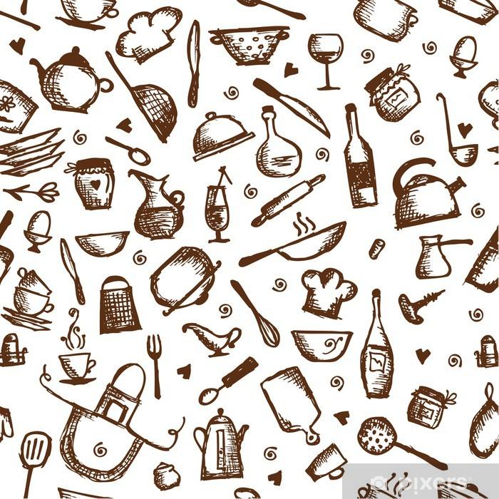 Naklejka Pixerstick Naczynia szkic, bez szwu deseń - Posiłki