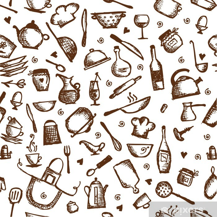 Sticker Pixerstick Ustensiles de cuisine croquis, seamless - Repas