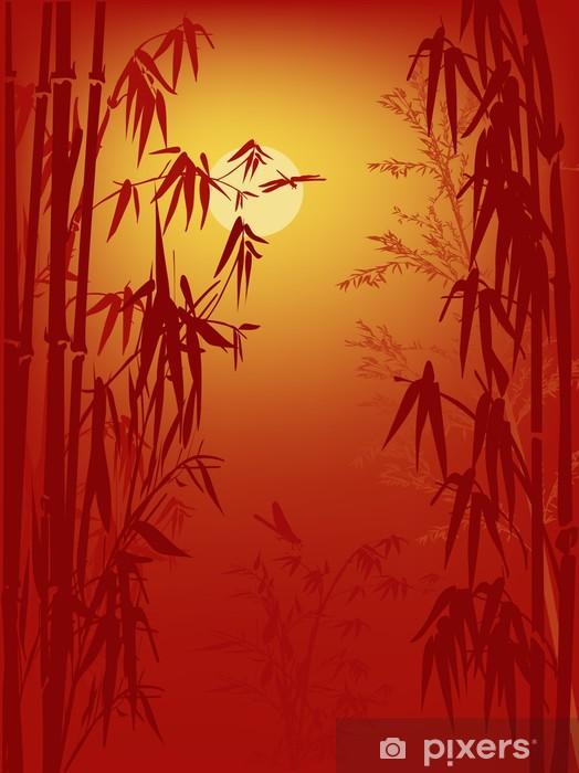 Papier peint vinyle Bambou et libellules sur fond rouge - Plantes