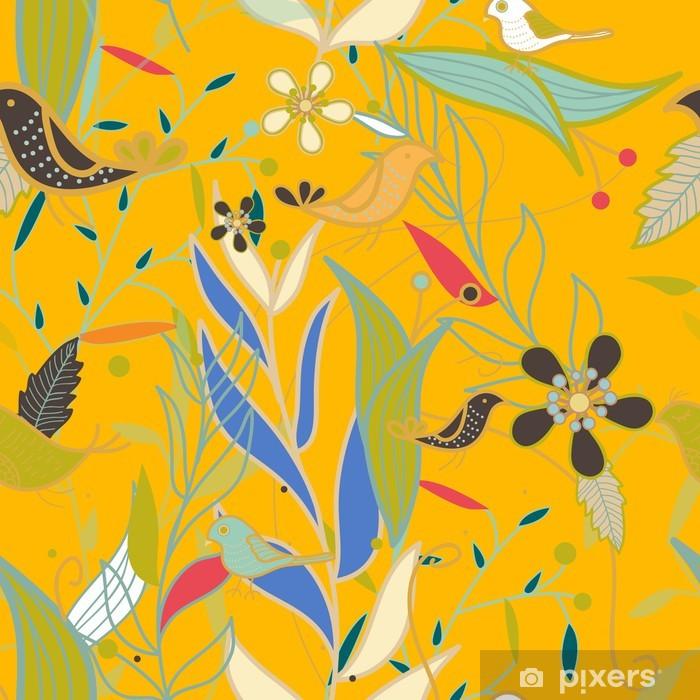 Fototapeta winylowa Bezszwowych tekstur wektor z roślin i ptaków - Tła