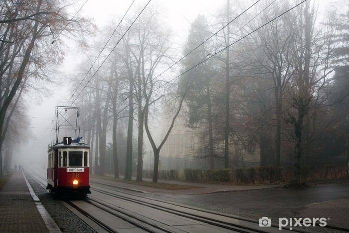 Historic tram in the fog Pixerstick Sticker - Railway