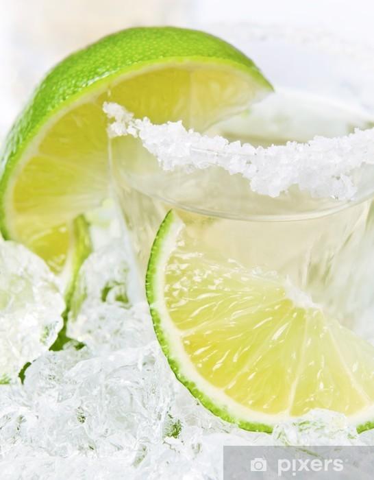 Pixerstick Sticker Goud tequila met zout en limoen -