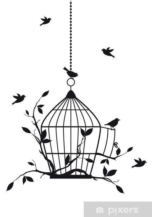 Naklejka Pixerstick Wolne ptaki z otwartej klatce dla ptaków, wektor -