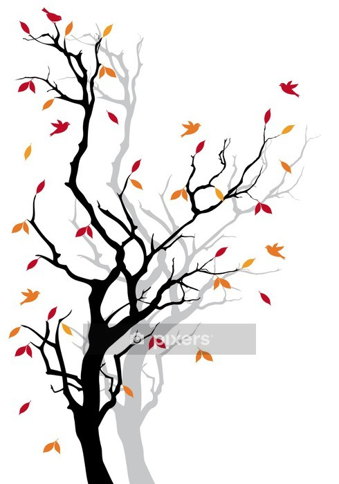 Autumn tree with falling leaves, vector Wall Decal - Styles