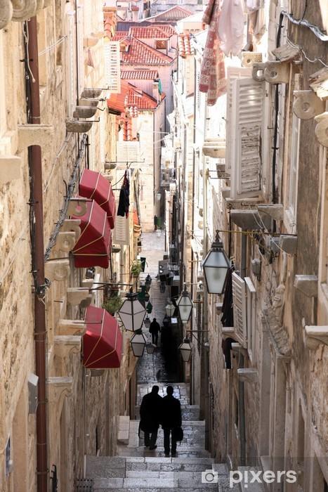 Fotomural Estándar Calle estrecha en la ciudad vieja de Dubrovnik, Croacia - Europa
