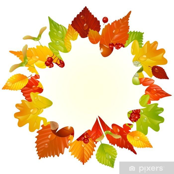 Papier peint vinyle Vecteur automne cadre avec la chute des feuilles 3 - Saisons