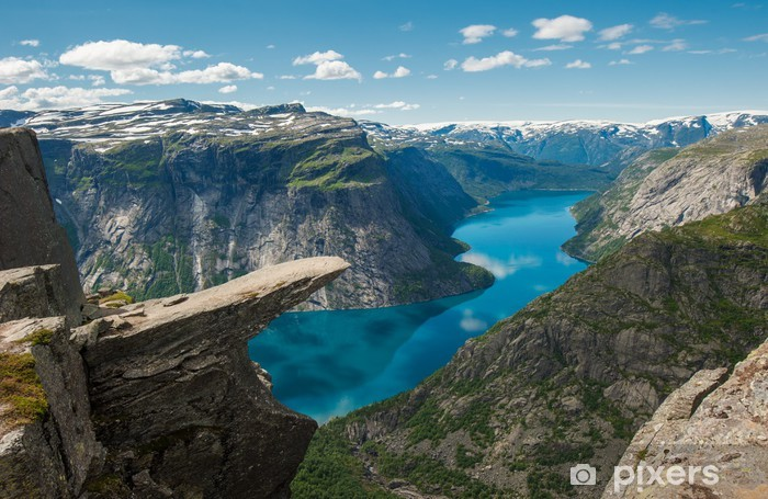Trolltunga, Troll's tongue rock, Norway Pixerstick Sticker - Themes