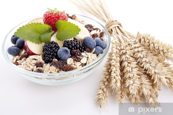 Sticker Pixerstick Délicieux petit-déjeuner sain avec corn flakes et fruits ISOLI - Riz