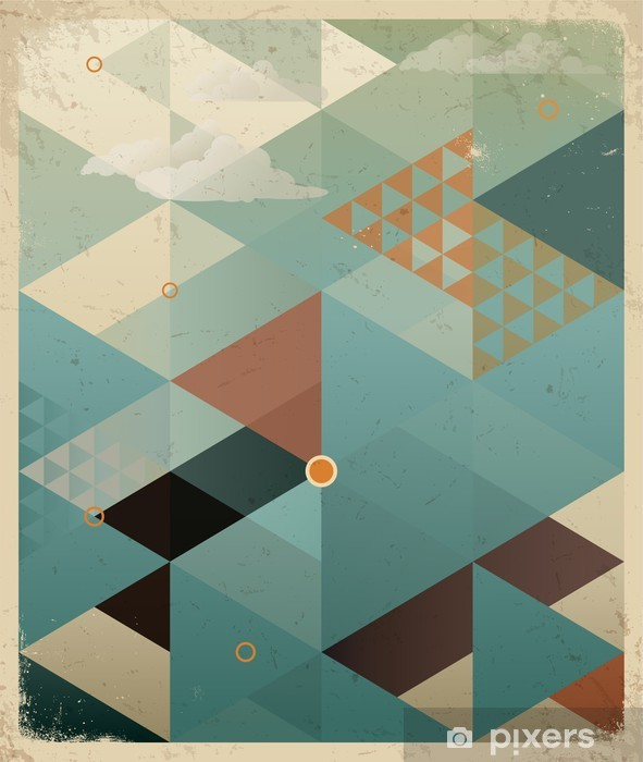 Abstract Retro Geometric Background with clouds Self-Adhesive Wall Mural -