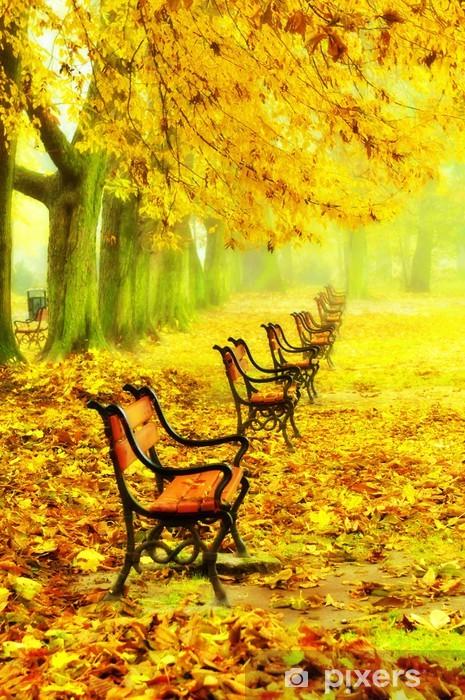 Naklejka Na Szybę I Okno Wiersz Czerwonych ławek W Parku