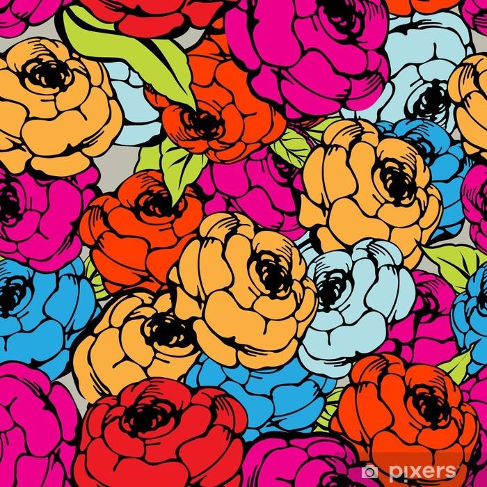Papier peint vinyle Rose motif répétitif - Ethique