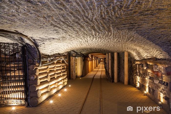 Underground corridor in the Wieliczka Salt Mine, Poland. Vinyl Wall Mural - Themes