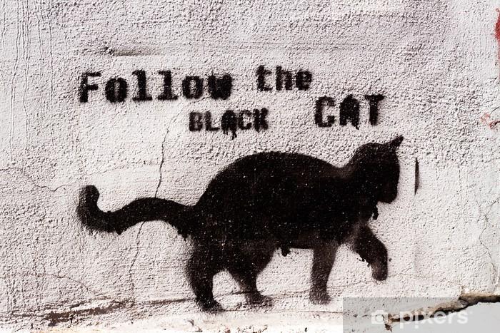Vinyl Fotobehang Zwarte kat graffiti - iStaging