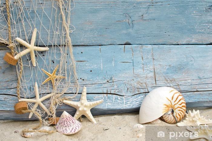 Afwasbaar Fotobehang Maritime vakantie geheugen: schelpen, zeesterren en visnet -