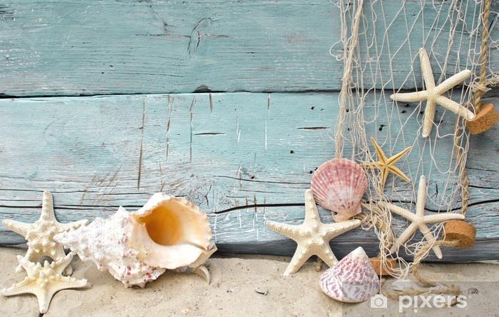 Vinyl Fotobehang Maritime Vakantie Reminder: schelpen en zeesterren -