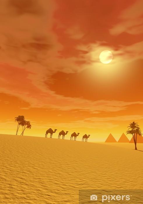 Naklejka Pixerstick Wielbłądy na pustyni - Pustynia