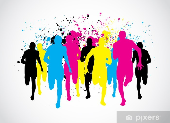 CMYK Marathon Runners Pixerstick Sticker - Themes