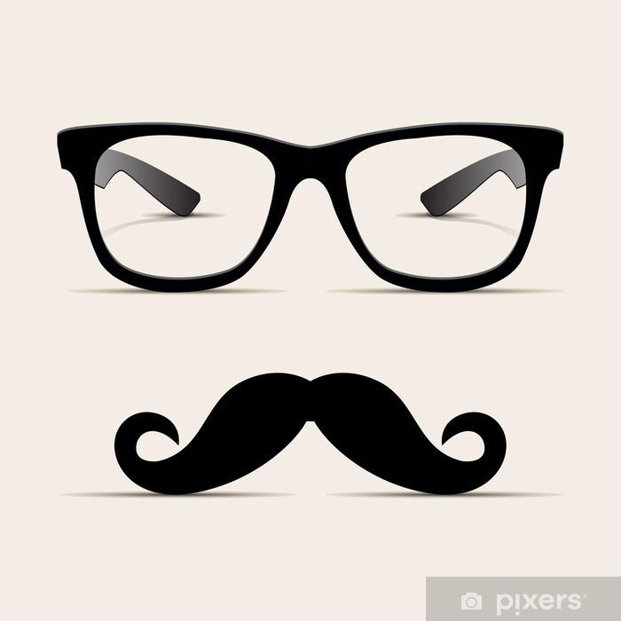 Pixerstick Sticker Hipster bril, Hipsta man. Vector - Snor