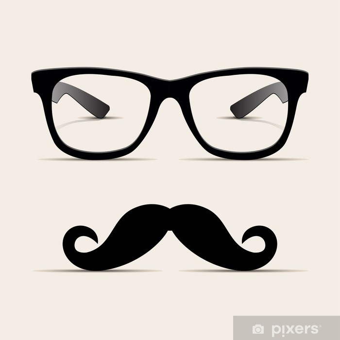 Hipster glasses, Hipsta man. Vector Pixerstick Sticker - Moustache